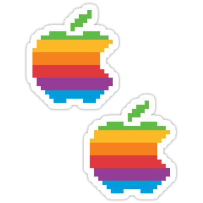 Apple 8-bit Rainbow ×2 Sticker