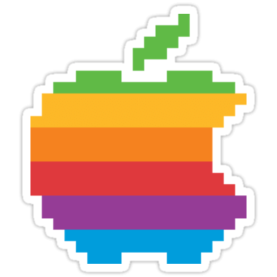 Apple 8-bit Rainbow Sticker