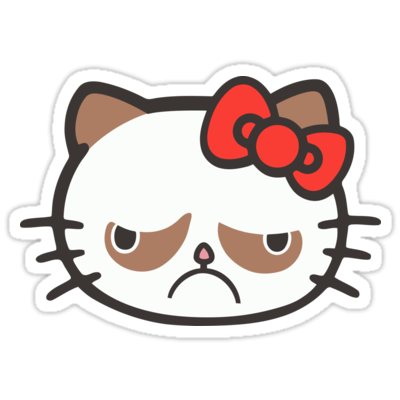 Hell No Kitty / Grumpy Cat Sticker