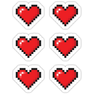 Pixel Love Heart ×6 Sticker