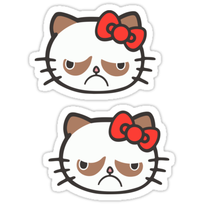 Hell No Kitty / Grumpy Cat ×2 Sticker