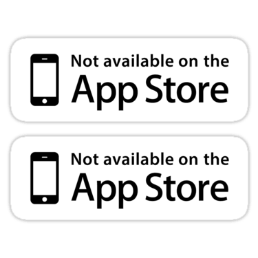 Not available on the App Store ×2 Sticker